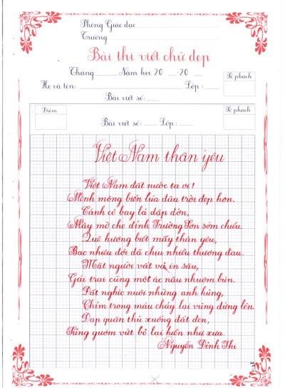 Những thầy giáo, học sinh viết chữ đẹp như in