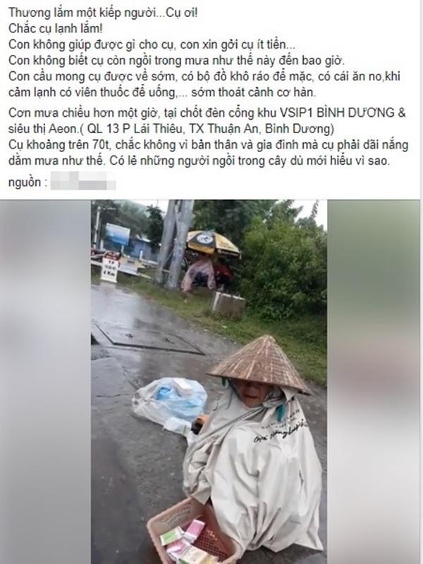 Nghẹn đắng họng cảnh cụ bà 90 co ro trong tấm bạt rách ngồi dưới mưa: Thương lắm một kiếp người!