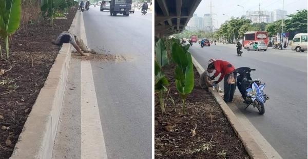 Dậy sóng mạng: Tài xế xe ôm chăm sóc người đàn ông đói lả bên đường gây xúc động